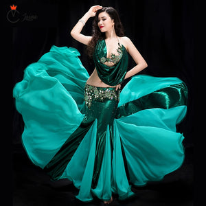 High quality sexy  New belly dance performance costume female green bag hip fishtail skirt costume Exquisite high-grade Dance