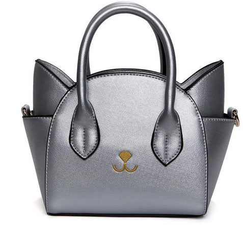 Women's Famous Designer Silver Luxury Cat In Bag Purse - icu-sexy