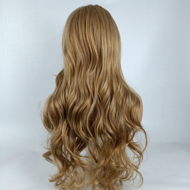 Hot Sexy Heast Resisitant Natural Linen Blonde Ombre Long Wave Wig