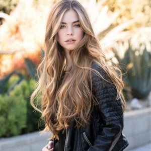 -Hot Sexy Heast Resisitant Natural Linen Blonde Ombre Long Wave Wig