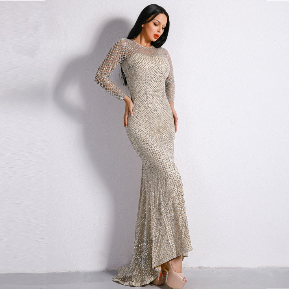 Hollow Out O-Neck Mesh Sequined Vintage Evening Party Maxi Dress