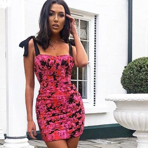 Women's Fashion Clubwear Pink Sleeveless Ruched Floral Patchwork Mini Dress