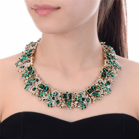Green Crystal Rhinestone Flower Pendant Luxury Choker Necklace