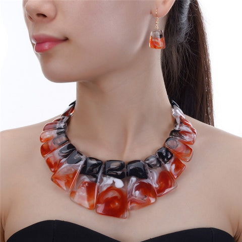Women's Tribal Style Brand Fashion Tri Color Beaded Choker Necklace Earrings Set