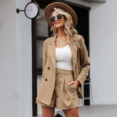 JaMerry Highstreet chic two piece set women blazer set Double breasted office lady blazer Casual streetwear female outwear suit