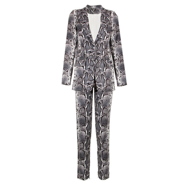 -Women's High Fashion Runway Snakeskin Print 2 Piece Pant Suit