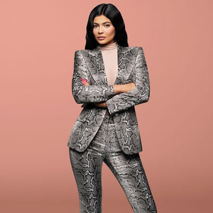 Women's High Fashion Runway Snakeskin Print 2 Piece Pant Suit
