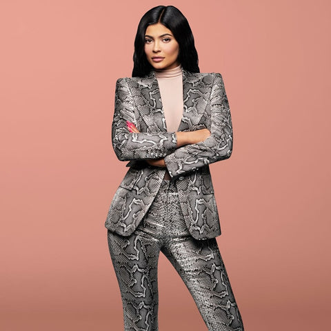Women Snakeskin Print 2 Piece High Quality Designer Pant Suit