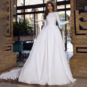 Luxury Princess Bride A Line Satin Long Sleeve With Romantic Buttons Backless Wedding Dress
