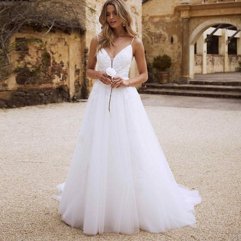 Sexy Backless Sweetheart A-Line Princess Beach Wedding Gown