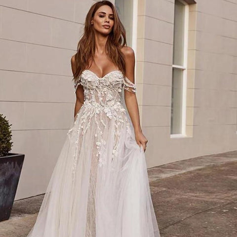 Stunning Off the Shoulder Lace Appliques Sleeveless Open Back Princess A Line Bride Dress  Wedding Gowns