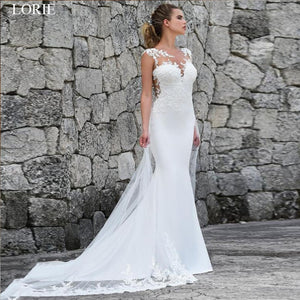 Elegant illusion Lace Appliques Custom Made Mermaid Wedding Dress Wedding Gown - ICU SEXY
