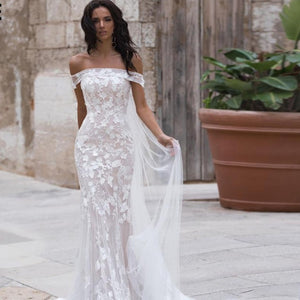 Sexy Off Shoulder Embroidered Lace Mermaid Wedding Gown with Court Train