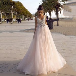 New Style Princess Beach Wedding Dress V-neck Backless Dress 3D Appliques - ICU SEXY