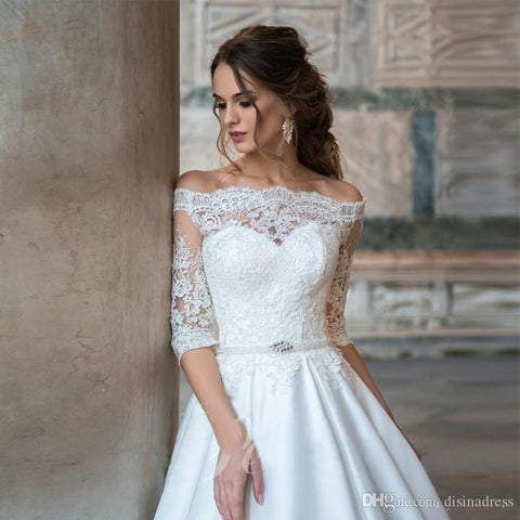Sexy Off The Shoulder Half Sleeve Lace Bride Dresses Lace Up Back Wedding Ball Gown - ICU SEXY