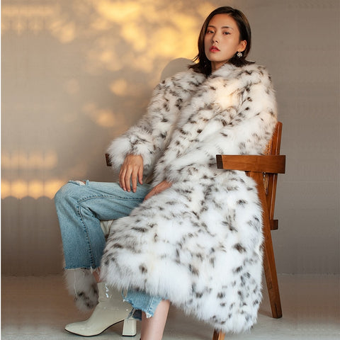 European Style Black And White Spot Leopard Faux Full Length Fur Coat - ICU SEXY
