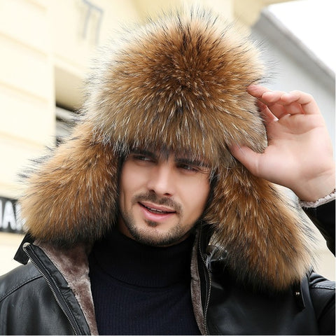 -Men's Russian Winter Bomber Hat in Black, Raccoon, Fox Styles