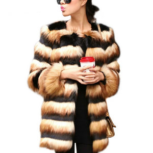 Women's Sexy Leopard Print Faux Fur Warm Luxury Coat