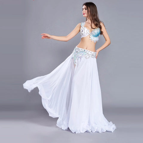 Luxury Designer Performing Belly Dancer Costume 3 Piece Bra Belt Skirt Set