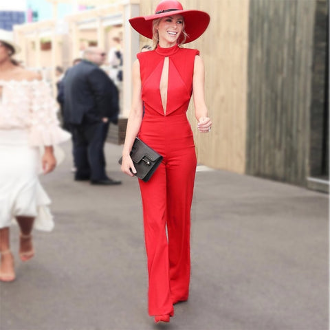 Celebrity Brand Designer Red Sleeveless Front Slit Backless Flare Jumpsuit