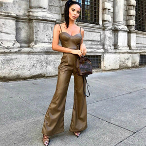 Sexy Hot Leatherette Runway Jumpsuit