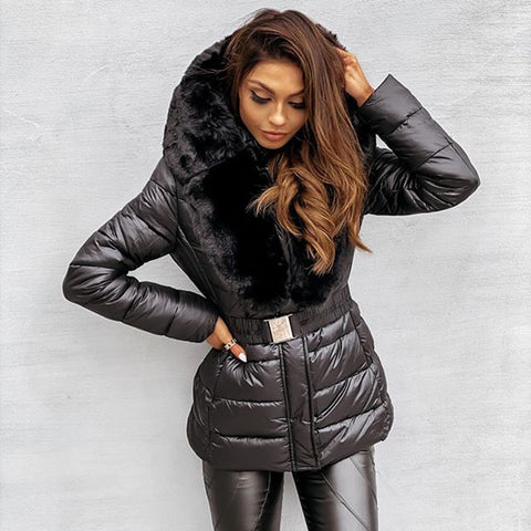 Women Fashion Mid-waisted Quilted Faux Fur Hooded Parka Coat - ICU SEXY