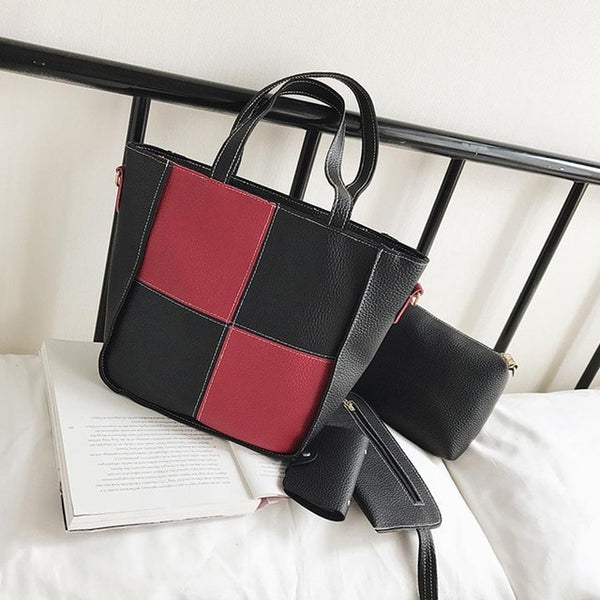 -Women's Square Patchwork Shoulder Tote Bag Set 4 Pieces
