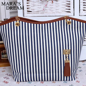 -High Quality Fashion Canvas Zipper Chain Striped Tote Bag Also in Blue
