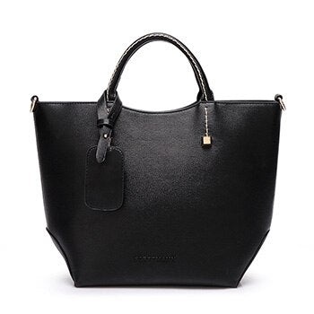 -Women's Fashion PU Leather Solid Color Metal Zipper Large Capacity Tote Bag