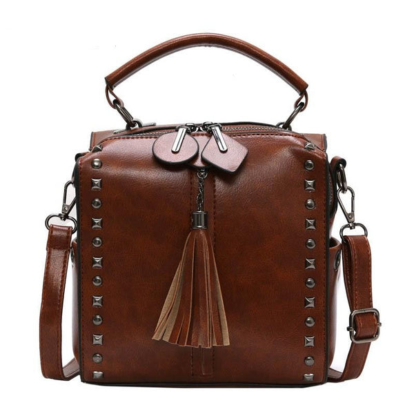 -Women's Top Handle Tassel Riveted Solid Cossbody Luxury Fashion Handbag in 4 Colors