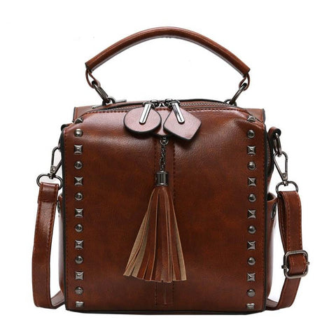 Women's Top Handle Tassel Riveted Solid Cossbody Luxury Fashion Handbag in 4 Colors
