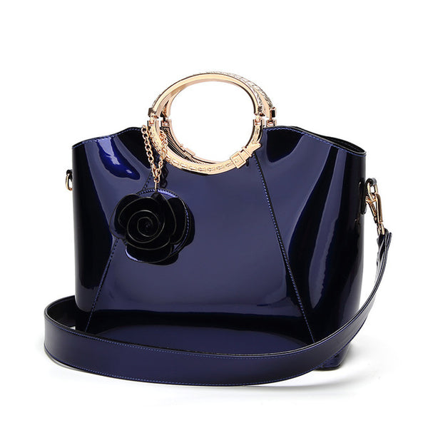 -Luxury Top-handle Famous Brand Designer High Quality Flower Pendant Handbag in 3 Colors
