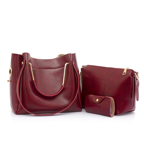 Women's Solid Red Oil Leather Crossbody Luxury Handbag Set - ICU SEXY