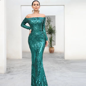 -Long Sleeve Reflective Green Sequin Off Shoulder Retro Maxi Dress