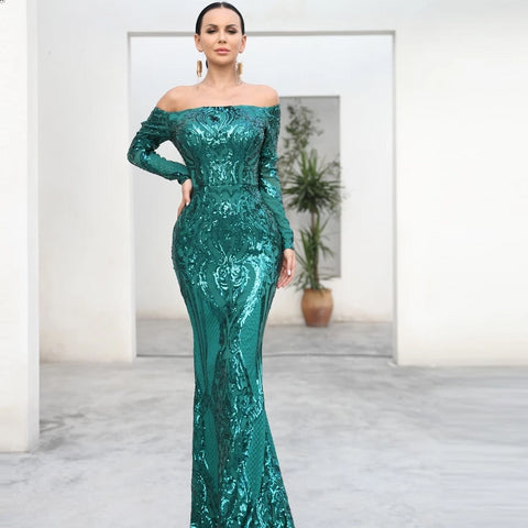 Long Sleeve Reflective Green Sequin Off Shoulder Retro Maxi Dress - ICU SEXY