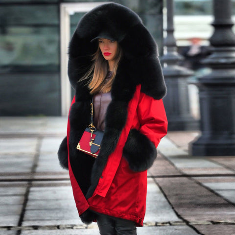 Women's Luxury Long Red Black Faux Fur Parka Thicken Warm Hooded Coat - ICU SEXY