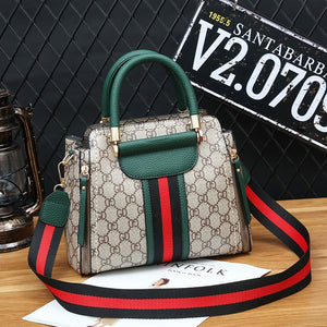 Women's Popular Handbag Vintage Contrasting Color Handbag With Crossbody Strap