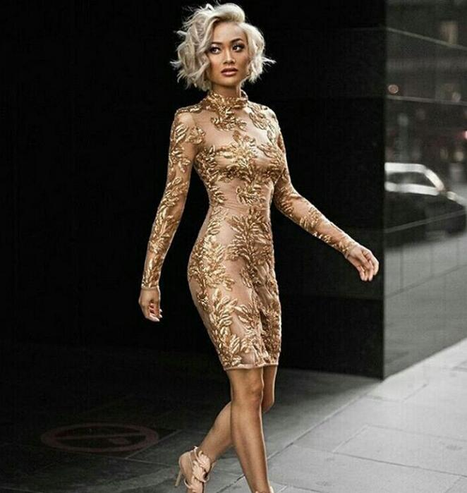 High Quality Luxury Fashion Gold Nude Mesh Long Sleeve Sequin Dress