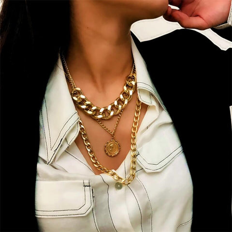 New Design Multi Layers Gold Alloy Coin Pendant Choker Necklace