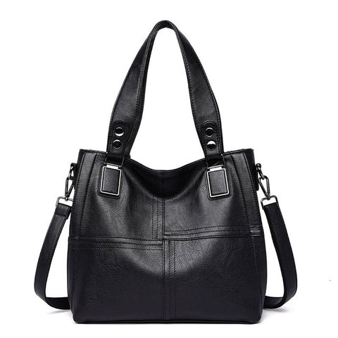 Women's High Quality Solid Patchwork Luxury Fashion Tote Bag in 4 Colors - ICU SEXY