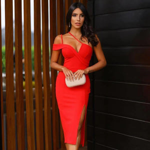 New Summer One Shoulder Sexy Red Sleeveless Bandage Bodycon Party Dress