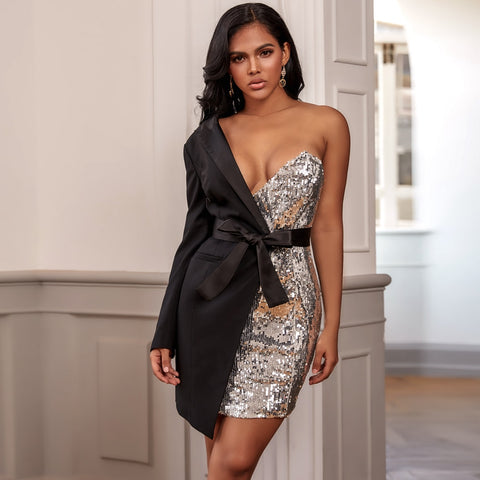 -Black Silver Single Shoulder Long Sleeve Belted Sequin Mini Bodycon Party Dress