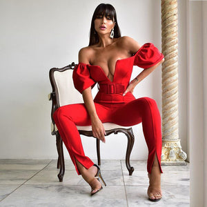 Sexy Red Off Shoulder Deep V One Piece Bodycon Jumpsuit Clubwear - ICU SEXY