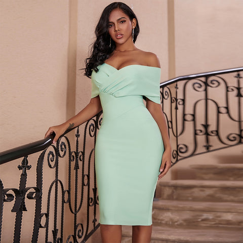 Women's Off Shoulder Draped Short Sleeve Seafoam Green Night Club Party Dress