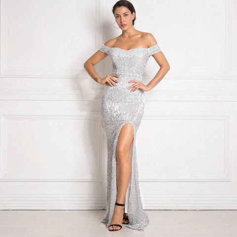 -Sexy Off The Shoulder White Silver Sequined Floor Length Split Leg Sequin Gown Dress