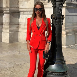 Women's Business Attire Classic Solid Double-Breasted Nine Button Blazer Pants Set - ICU SEXY