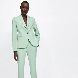 Light Mint Green Notched Collar Single Button Fashion Blazer Jacket Suit Set Wear To Work