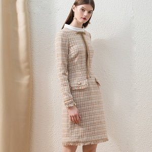 Women's Brand Fashion Long Sleeve Khaki Plaid Wool Blend Dress