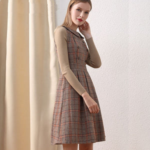 New Autumn Winter Vintage Fashion Wool Blend Beige Plaid Designer Style Dress