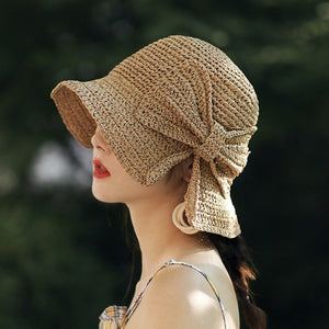 Women's New  Designer Style Bow Bucket Straw Sun Hat